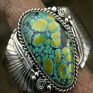 Vintage Signed Silver Spiderweb Turquoise Navajo